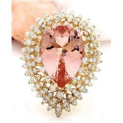 9.66 CTW Natural Morganite 18K Solid Yellow Gold Diamond Ring