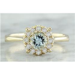 0.72 CTW Aquamarine 14K Yellow Gold Diamond Ring