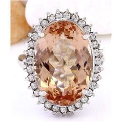 13.12 CTW Natural Morganite 18K Solid White Gold Diamond Ring