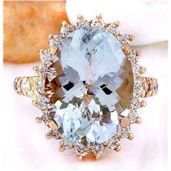 8.88 CTW Natural Aquamarine 18K Solid Rose Gold Diamond Ring
