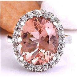 7.82 CTW Natural Morganite 18K Solid White Gold Diamond Ring