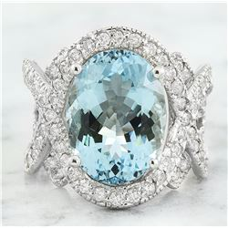 9.40 CTW Aquamarine 18K White Gold Diamond Ring