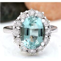 4.70 CTW Natural Aquamarine 18K Solid White Gold Diamond Ring