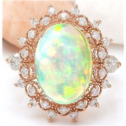 4.50 CTW Natural Opal 18K Solid Rose Gold Diamond Ring