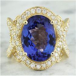 10.58 CTW Tanzanite 14K Yellow Gold Diamond Ring