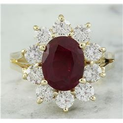 3.55 CTW Ruby 14K Yellow Gold Diamond Ring