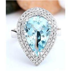 5.30 CTW Natural Aquamarine 14K Solid White Gold Diamond Ring