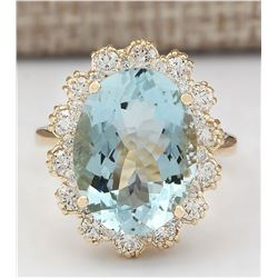 8.17 CTW Natural Blue Aquamarine And Diamond Ring In 18K Yellow Gold