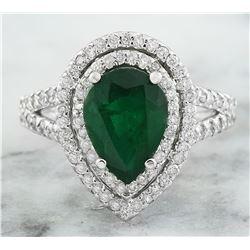 2.90 CTW Emerald 14K White Gold Diamond Ring