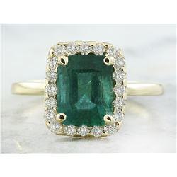 2.47 CTW Emerald 14K Yellow Gold Diamond Ring