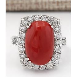 9.86 CTW Natural Coral And Diamond Ring In 18K White Gold