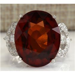 19.81 CTW Natural Red Hessonite Garnet And Diamond Ring In18K White Gold