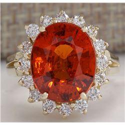 6.96CTW Natural Mandarin Garnet And Diamond Ring In14K Yellow Gold