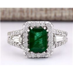 3.30 CTW Natural Emerald And Diamond Ring In 14k White Gold
