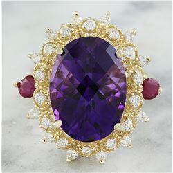 8.60 CTW Amethyst Ruby 18K Yellow Gold Diamond Ring