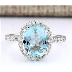 3.61 CTW Natural Aquamarine And Diamond Ring In 18K White Gold