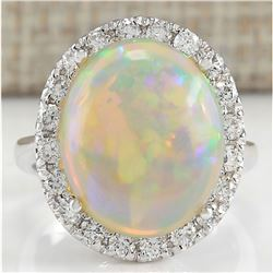 8.30 CTW Natural Opal And Diamond Ring 18K Solid White Gold