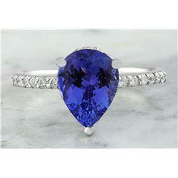 2.95 CTW Tanzanite 18K White Gold Diamond Ring