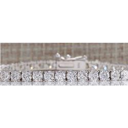 6.14CTW Natural Diamond Bracelet In 18K Solid White Gold