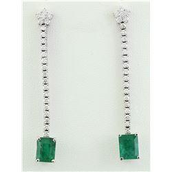 5.15 CTW Emerald 18K White Gold Diamond Earrings