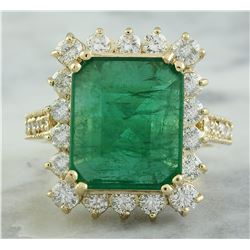 6.91 CTW Emerald 14K Yellow Gold Diamond Ring