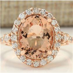 4.00 CTW Natural Morganite And Diamond Ring In 18K Rose Gold