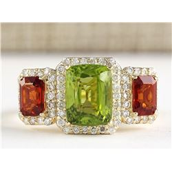5.85 CTW Natural Peridot And Sapphire Diamond Ring In 18K Yellow Gold