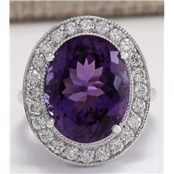 10.60 CTW Natural Amethyst And Diamond Ring In 18K Solid White Gold
