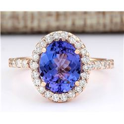 3.10 CTW Natural Tanzanite And Diamond Ring In 18K Rose Gold