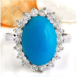 5.29 CTW Natural Turquoise 18K Solid White Gold Diamond Ring