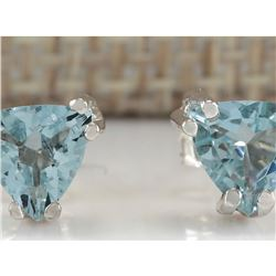 1.70 CTW Natural Aquamarine Earrings 18K Solid White Gold