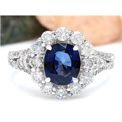 3.23 CTW Natural Sapphire 14K Solid White Gold Diamond Ring