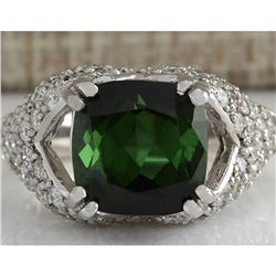 7.93 CTW Natural Green Tourmaline And Diamond Ring 18K Solid White Gold