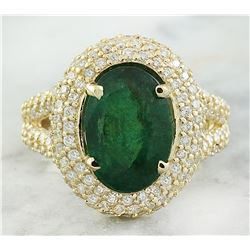 5.67 CTW Emerald 18K Yellow Gold Diamond Ring