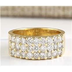 1.40 CTW Natural Diamond Ring 18K Solid Yellow Gold