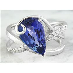 5.75 CTW Tanzanite 14K White Gold Diamond Ring