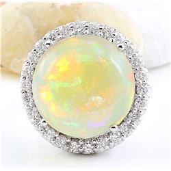 16.02 CTW Natural Opal 18K Solid White Gold Diamond Ring