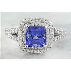 2.45 CTW Tanzanite 18K White Diamond Ring