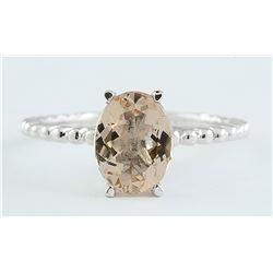 1.50 CTW Morganite 18K White Gold Ring