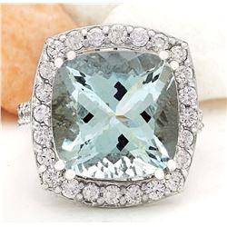 11.10 CTW Natural Aquamarine 14K Solid White Gold Diamond Ring