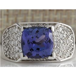 3.65 CTW Natural Blue Tanzanite And Diamond Ring In 14K White Gold
