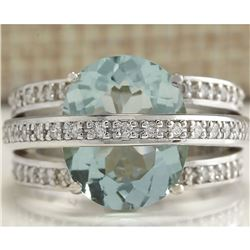 6.46 CTW Natural Aquamarine And Diamond Ring In 18K Solid White Gold