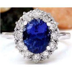 4.50 CTW Natural Tanzanite 14K Solid White Gold Diamond Ring
