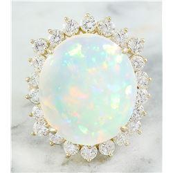 11.90 CTW Opal 14K Yellow Gold Diamond Ring