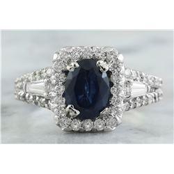 3.10 CTW Sapphire 14K White Gold Diamond ring