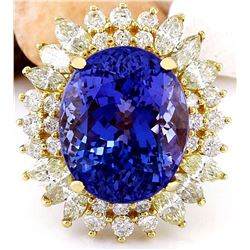 18.75 CTW Natural Tanzanite 18K Solid Yellow Gold Diamond Ring
