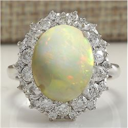 5.93 CTW Natural Opal And Diamond Ring In 14K Solid White Gold