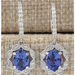 2.21 CTW Natural Blue Tanzanite And Diamond Earrings In 18K White Gold