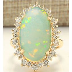 8.09 CTW Natural Opal And Diamond Ring In 14k Yellow Gold