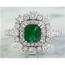 2.30 CTW Emerald 14K White Gold Diamond ring